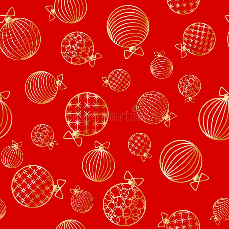 Seamless pattern with Christmas ball Winter festive background on New Year and Christmas ornament for greeting cards. Pattern of golden line toy ball Christmas royalty free illustration
