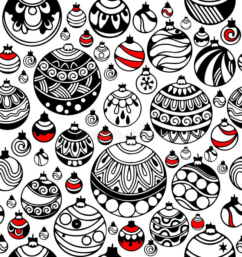 Seamless pattern of Christmas balls with red accents on the white royalty free illustration