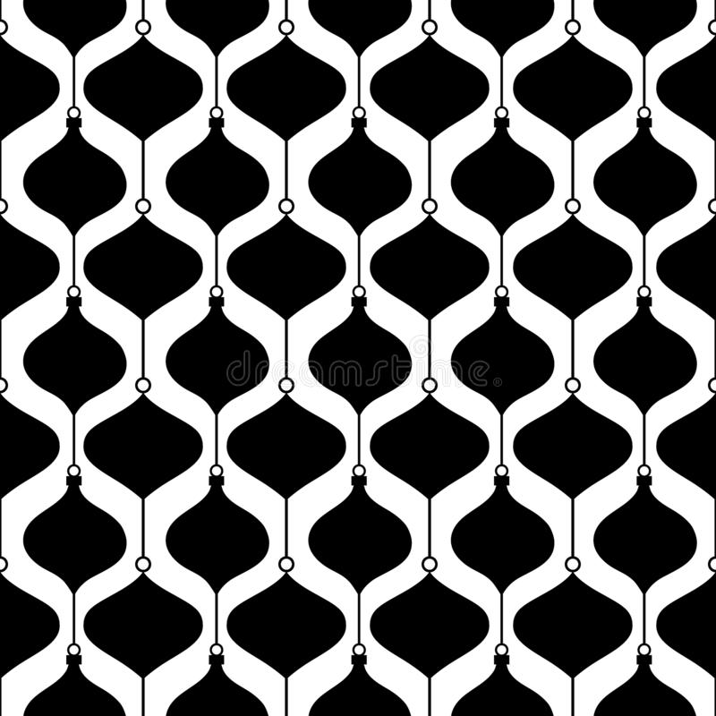 Seamless pattern Christmas baubles with white and black color vector illustration