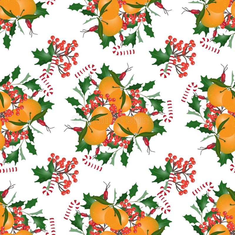 Seamless pattern with Christmas bouquets. Mandarins,lollipops and berries. Design of wallpaper, fabric, card, packaging and decorative textile. Concept for stock illustration