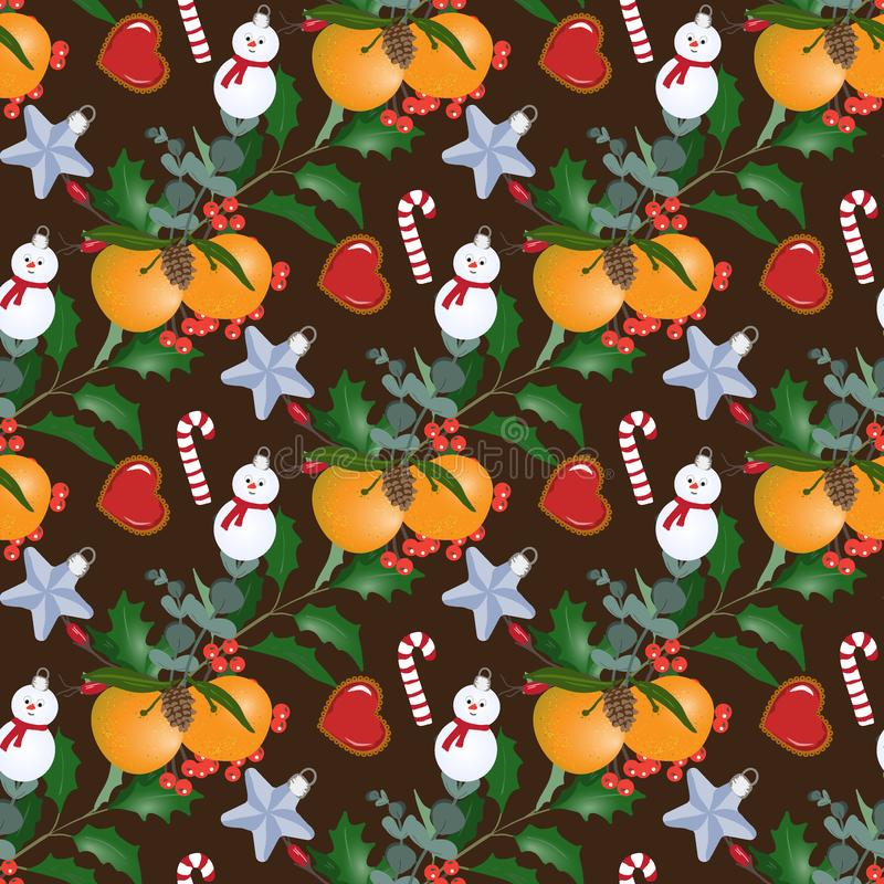Seamless pattern with Christmas bouquets. Mandarins and snowmans. Design of wallpaper, fabric, card, packaging and decorative textile. Concept for Happy stock illustration