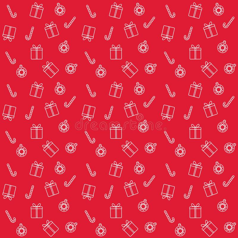 Seamless pattern with Christmas candys, gifts and christmas tree toys. On red background stock illustration