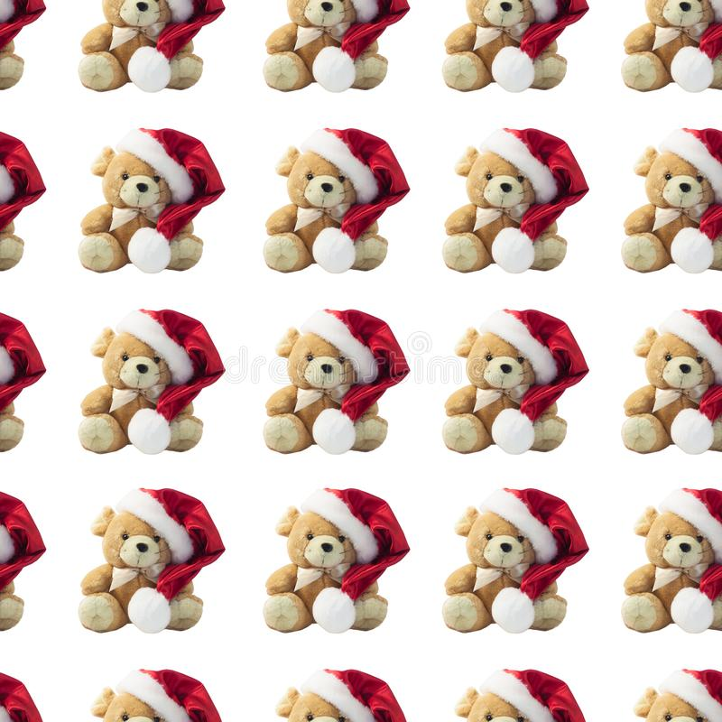 Seamless pattern. Christmas card with symbol of the year 2020 a rat in a red Santa hat on a white background royalty free stock photos