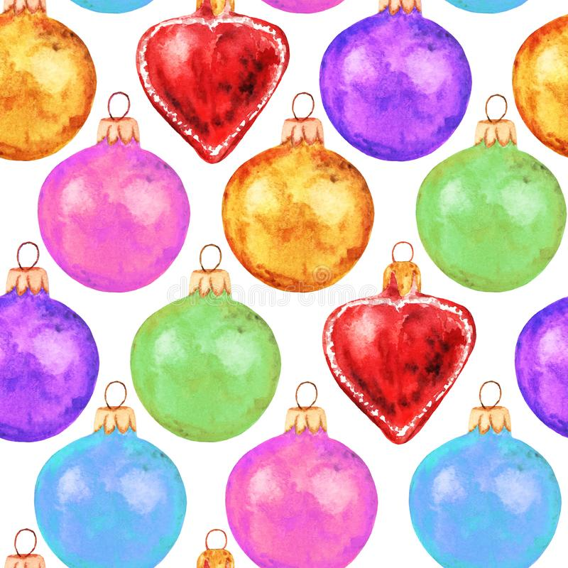 Seamless pattern with Christmas colorful toys. Watercolor bells, red heart on white background. Winter holiday stock photography