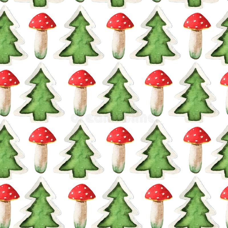Seamless pattern with Christmas colorful toys. Watercolor mushroom and Christmas trees on white background. Winter royalty free stock image
