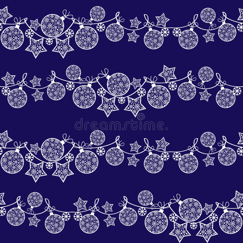 Seamless pattern with Christmas garland