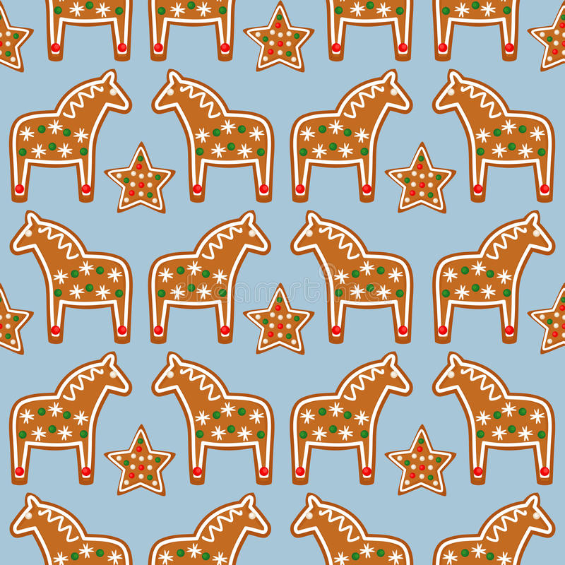 Seamless pattern with Christmas gingerbread cookies - Xmas stars and horses on blue background. Winter holiday vector design Xmas background stock illustration