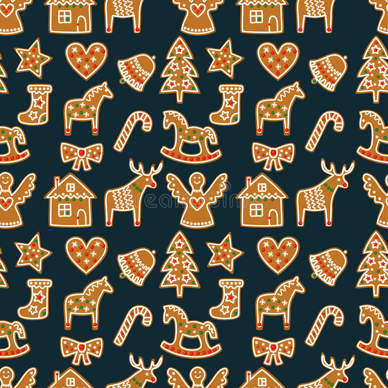 Seamless pattern with Christmas gingerbread cookies - xmas tree, candy cane, angel, bell, sock, gingerbread men, star, heart, deer. Rocking horse. Winter royalty free illustration
