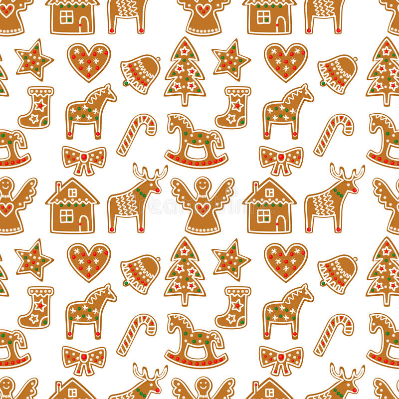 Seamless pattern with Christmas gingerbread cookies - Xmas tree, candy cane, angel, bell, sock, gingerbread men, star, heart, deer. Rocking horse.Winter stock illustration