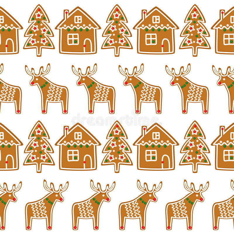 Seamless pattern with Christmas gingerbread cookies - xmas tree, deer, house. vector illustration