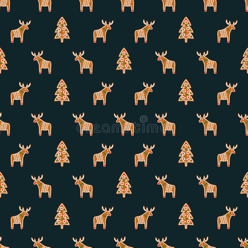 Seamless pattern with Christmas gingerbread cookies - Xmas tree and deer. Winter holiday vector background. Seamless pattern for wallpapers, pattern fills, web royalty free illustration