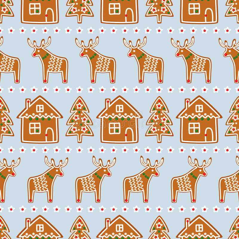 Seamless pattern with Christmas gingerbread cookies - Xmas tree, star, deer, house. vector illustration