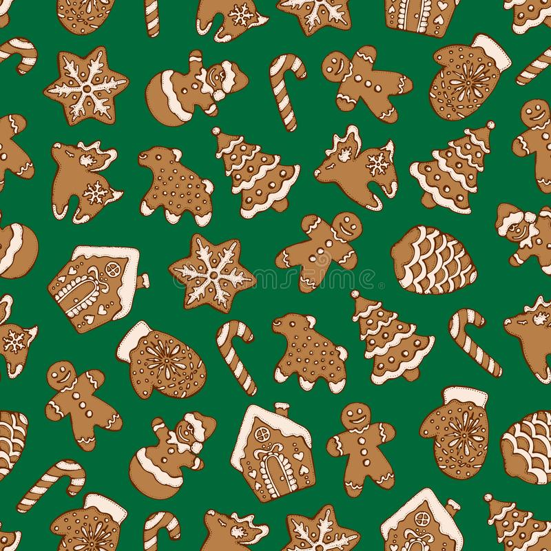 Seamless pattern of christmas homemade gingerbread cookies on green background. Christmas tree, snowflake, deer and snowman. Vecto. R illustration for menu stock illustration