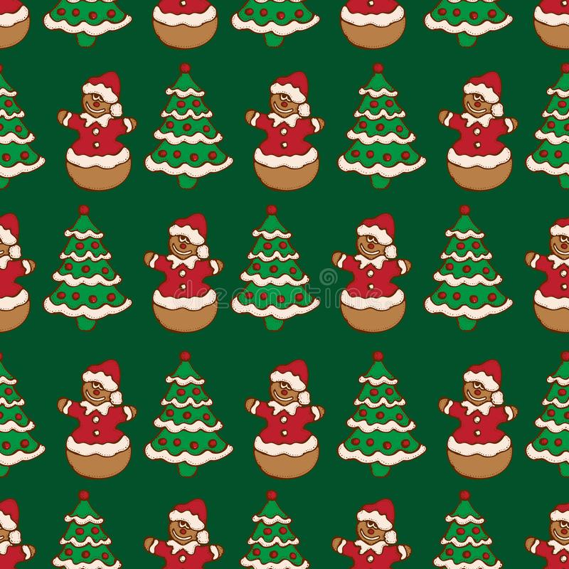 Seamless pattern of christmas homemade gingerbread cookies on green background. Christmas tree and snowman. Vector illustration fo. R menu design, cafe vector illustration