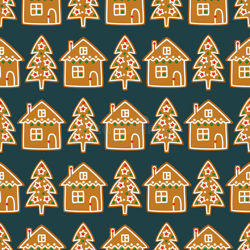 Seamless pattern with Christmas homemade gingerbread cookies - Xmas tree and cute house. Winter holiday vector design illustration stock illustration