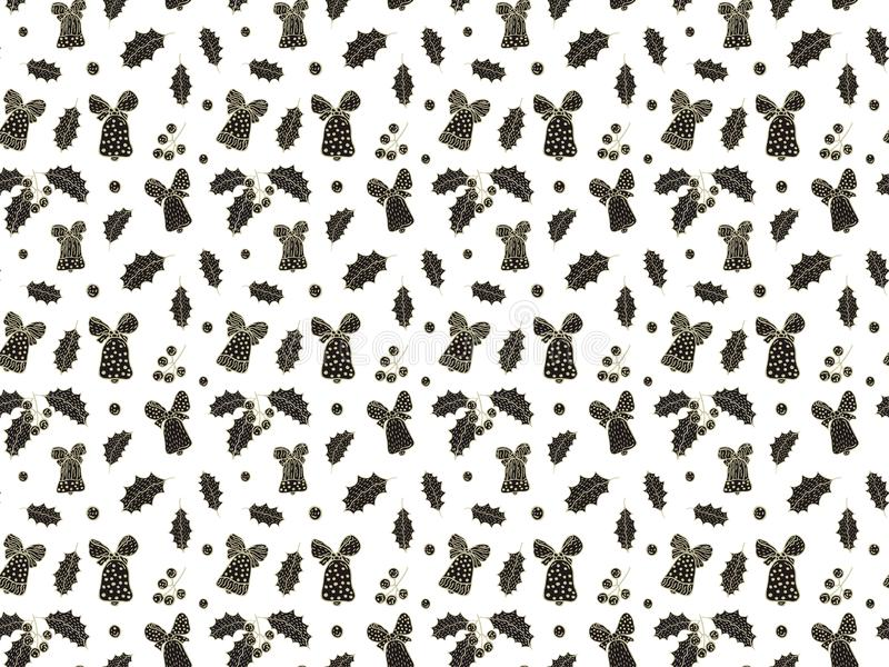 Seamless pattern for Christmas and New Year from hand-drawn bells, leaves and berries of mistletoe on a white background in scandi royalty free illustration