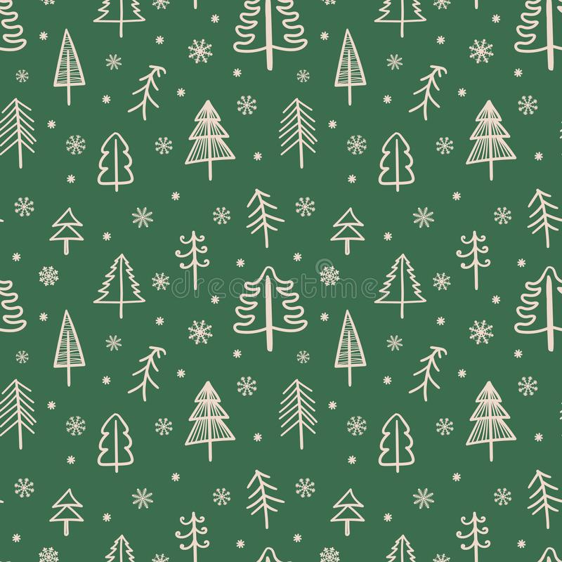 Seamless pattern for Christmas and New Year. Hand-drawn vector illustration of trees and snowflakes in beige on a green background.  vector illustration