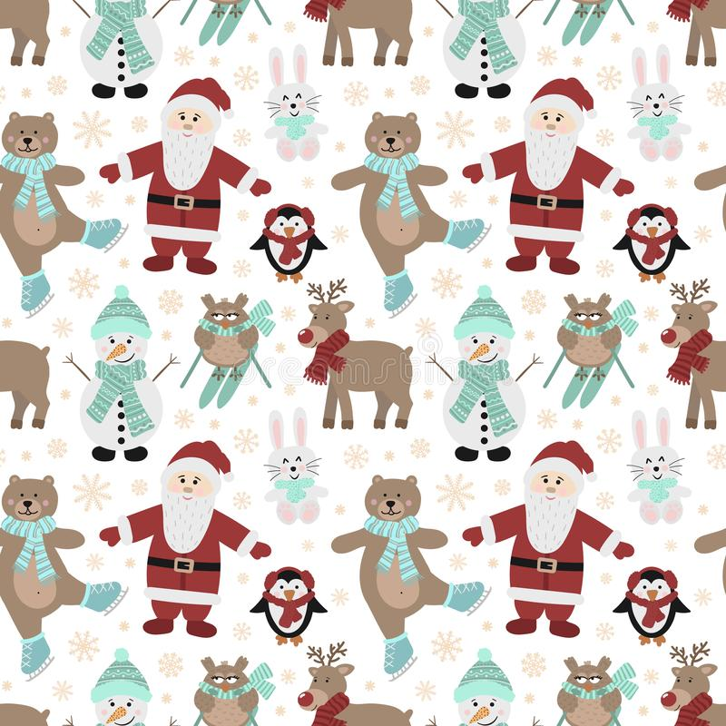 Seamless pattern for Christmas and New Year. Vector hand-drawn illustration of Santa, owls on skis, a bear on skates, a hare, a pe stock illustration