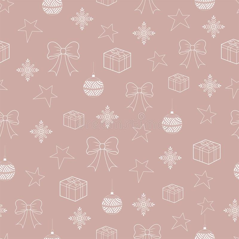 Seamless pattern of Christmas elements contour royalty free illustration