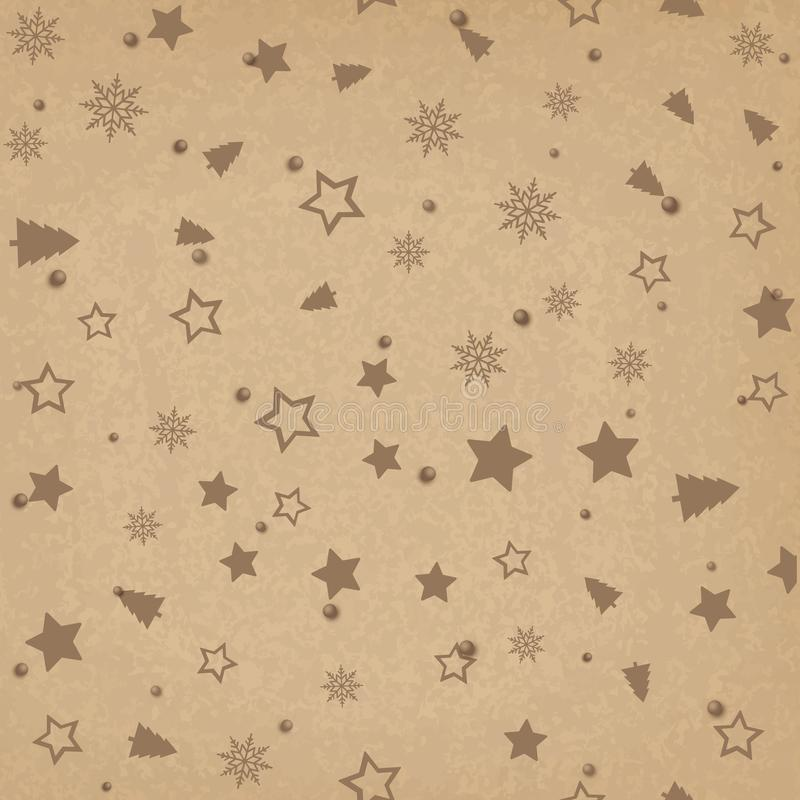 Seamless pattern with Christmas ornaments on brown background. Vector vector illustration