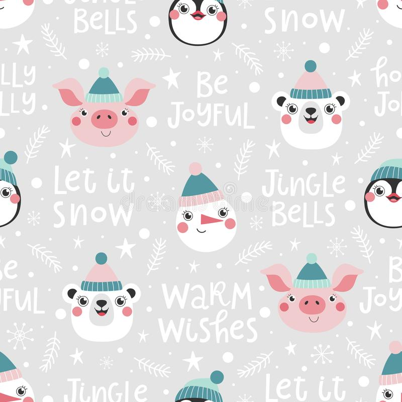 Seamless pattern with christmas phrase and cute animals royalty free illustration