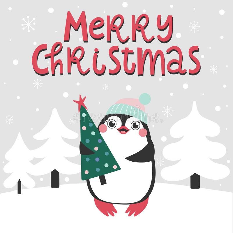 Seamless pattern with christmas phrase and cute animals stock illustration