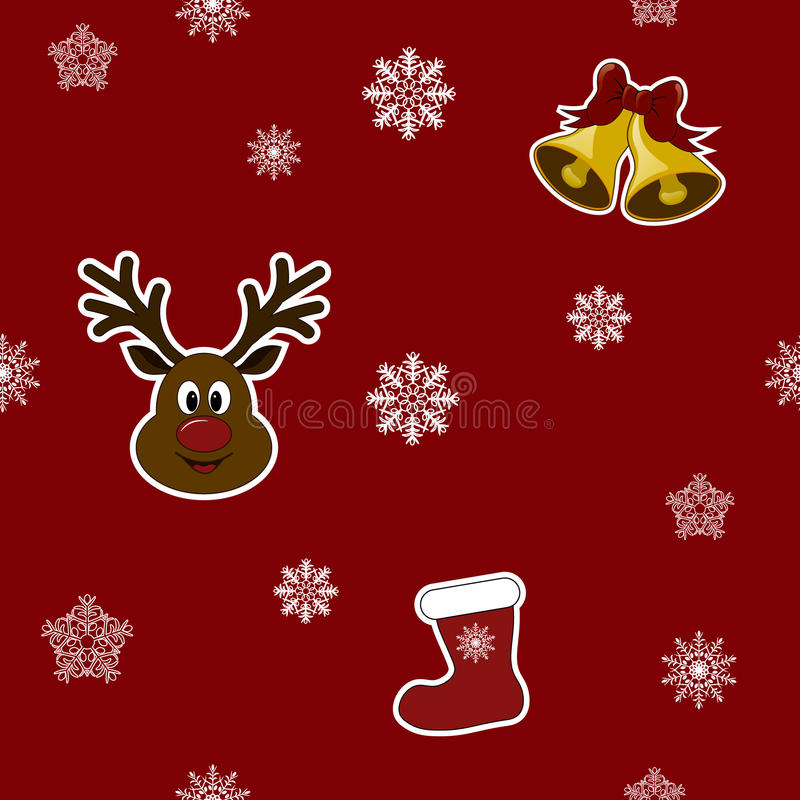 Seamless pattern. Christmas stocking in color with snowflakes. royalty free stock photography