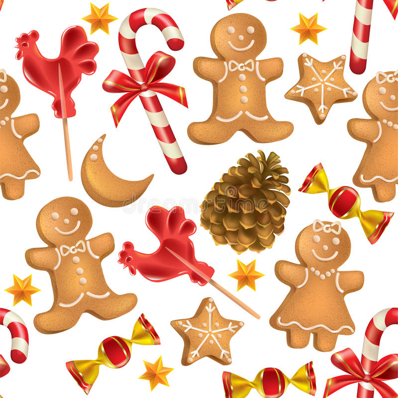 Seamless pattern of Christmas sweets royalty free illustration