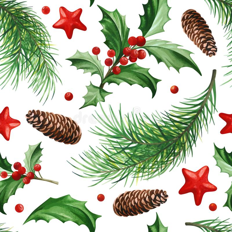 Seamless Pattern with Christmas Symbol - Holly Leaves, Christmas Tree with Cones and Stars on White Background. royalty free illustration