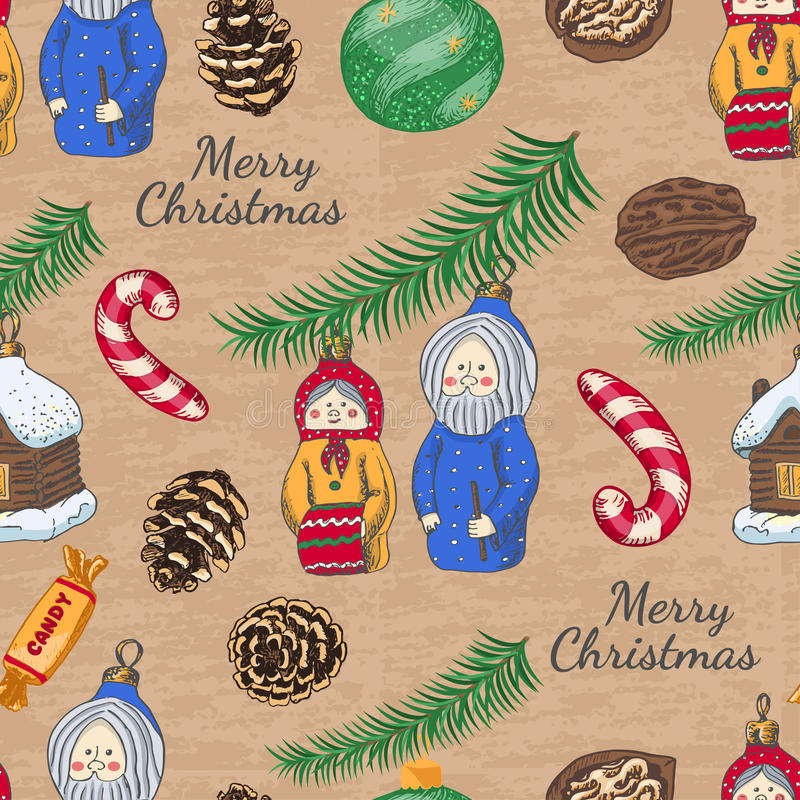 Seamless pattern with Christmas toys. Vector illustration for your design stock illustration