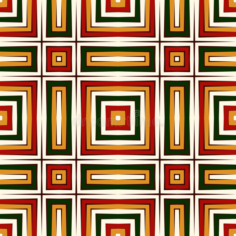 Seamless pattern in Christmas traditional colors. Repeated squares bright ornamental abstract geometric background. royalty free illustration