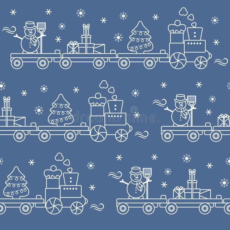 Seamless pattern with Christmas train carries Christmas tree, snowman with broom, gifts. Happy New Year 2019, Christmas card vector illustration