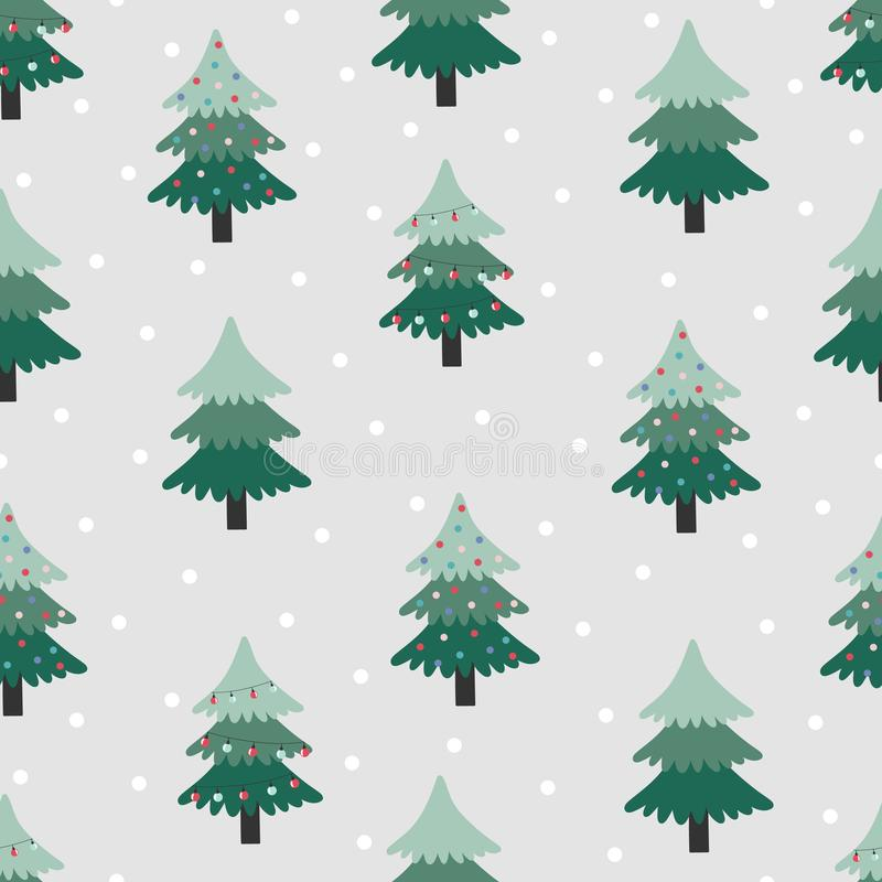 Seamless pattern with christmas tree on grey background. royalty free illustration