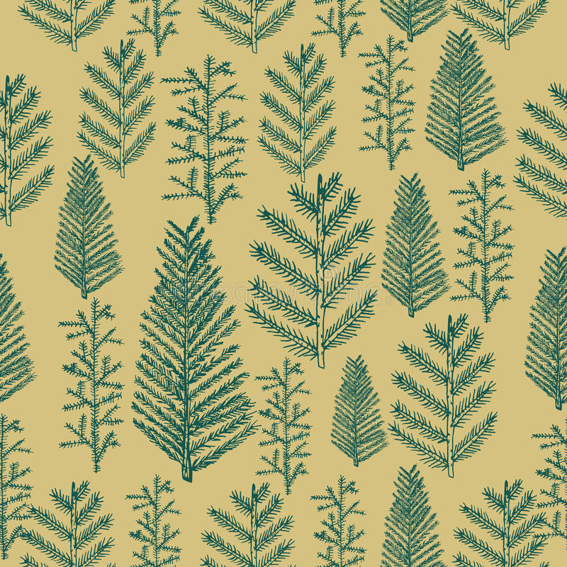 Free Seamless Pattern Christmas Tree On Gold Background Stock Images - 63643574