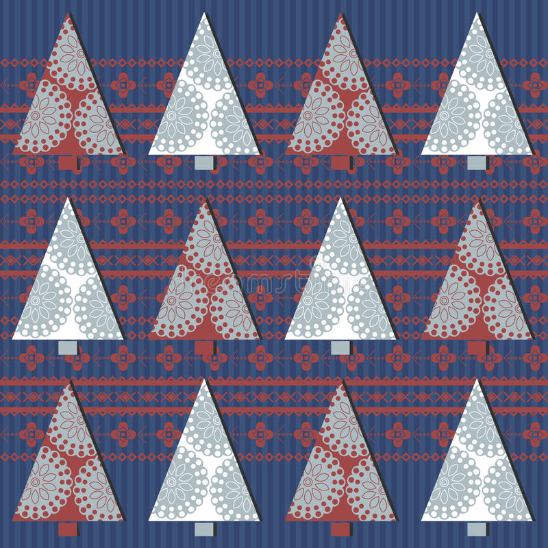 Seamless pattern with Christmas tree and stylish ornament. Seamless pattern with Christmas tree, snowflakes and stylish ornament. Retro template can be used for stock illustration