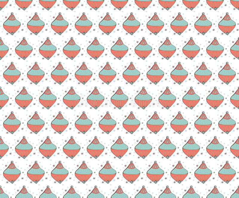 Seamless pattern Christmas tree toys in . For wrapping paper with Christmas decorations, balloons, snowflakes. Cute vintage style vector illustration