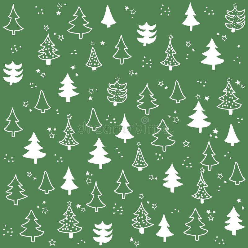 Seamless pattern with Christmas tree stock illustration