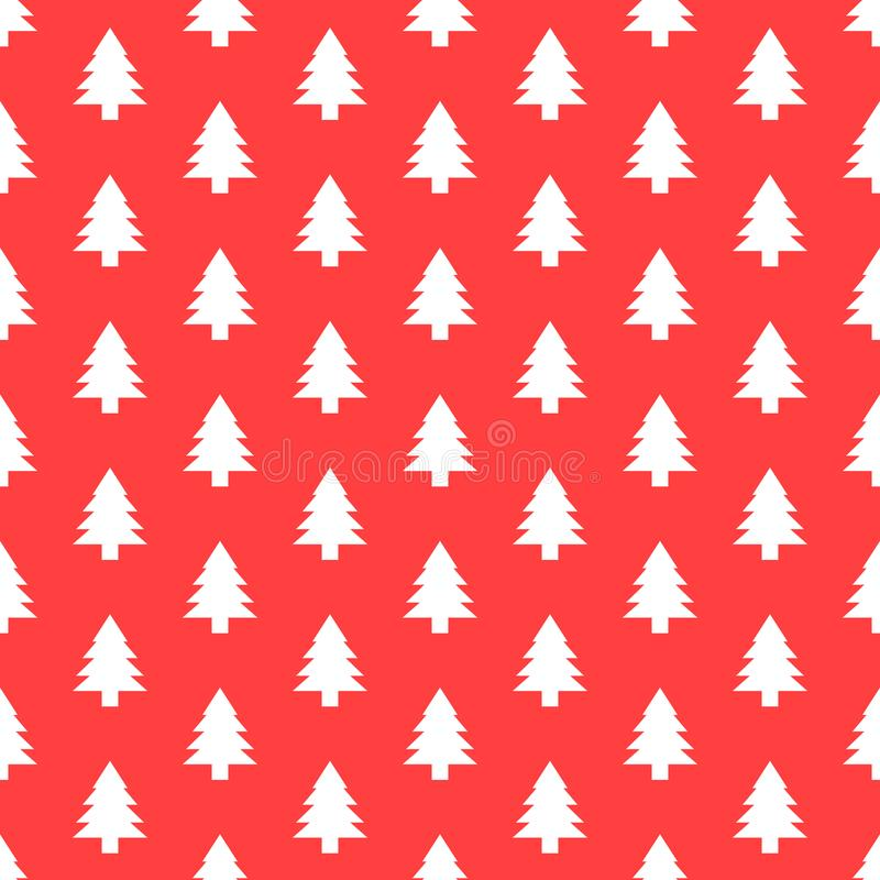 Seamless pattern with Christmas tree. Xmas texture for wallpaper or wrapping paper. Vector red background stock illustration