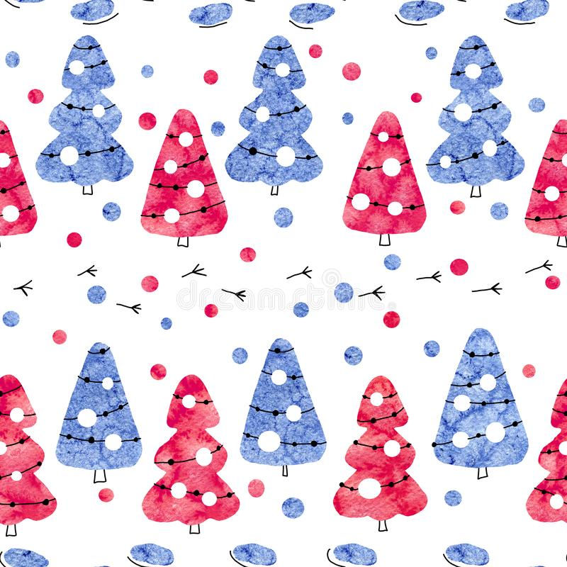 Seamless pattern with Christmas trees of blue and red color isolated on a white background. Abstract pattern collage of watercolor. Stains. Hand drawn stock images