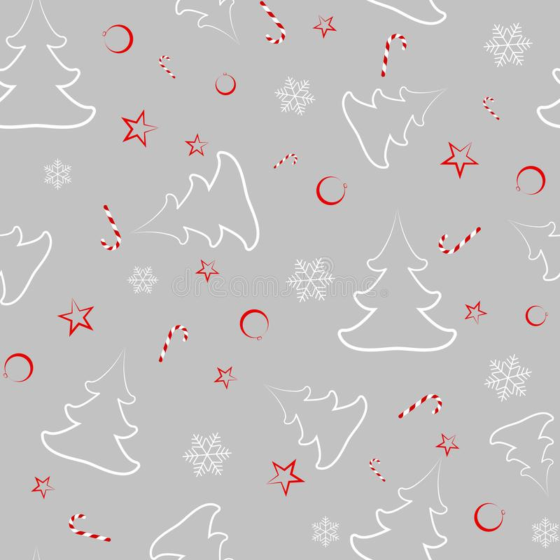 Seamless pattern from Christmas trees, New Year`s balls, stars, candies, snowflakes Gift wrap on New Year stock illustration
