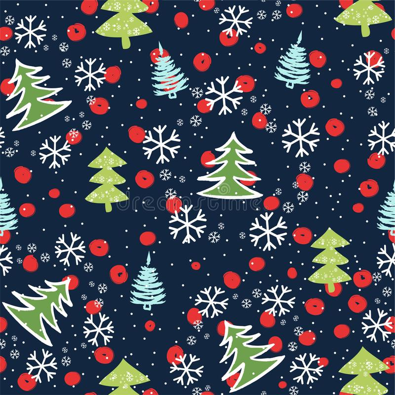 Seamless pattern with Christmas trees. Xmas tree hand drawn, template for new year greeting card or packaging decoration holiday royalty free illustration