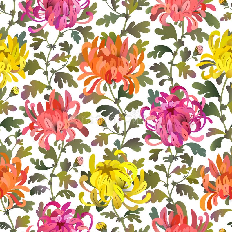 Seamless pattern with chrysanthemum flowers and leaves. Colorful floral background design. vector illustration