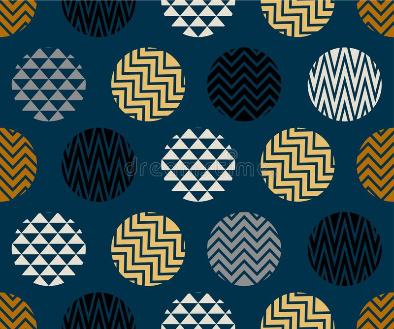 Seamless pattern with circle of zigzag lines, gold, blue and black color on dark blue background. Artwork and wallpaper royalty free illustration