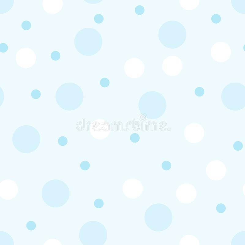 Seamless pattern of circles in blue tones. Illustration for a boy at a baby shower party with polka dots. Background for greeting stock illustration