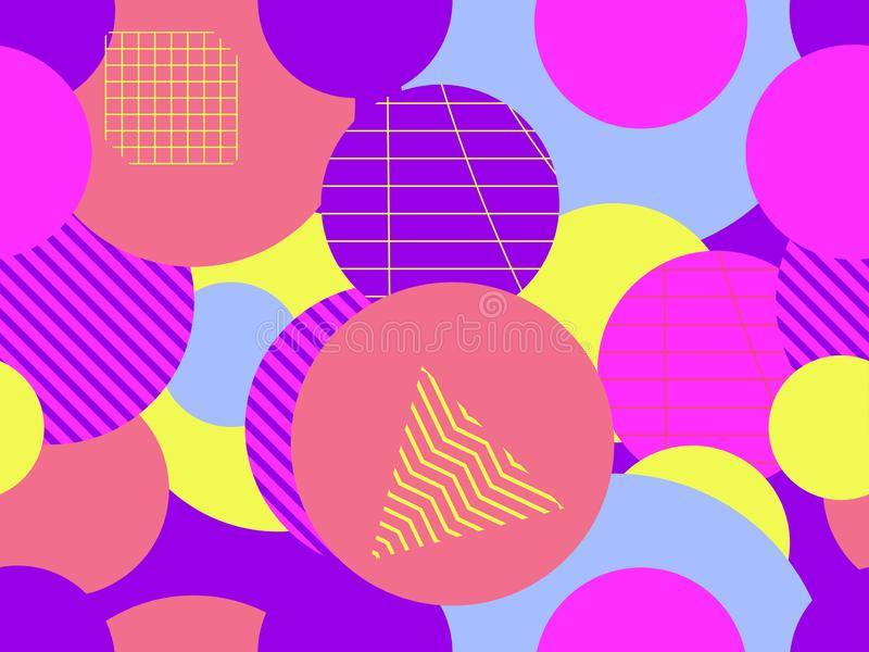 Seamless pattern with circles. Futurism retro background in style 1980s. Retrowave. Vector. Illustration vector illustration