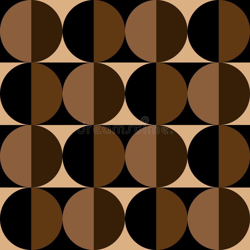 Seamless pattern of circles and squares in coffee colors stock illustration
