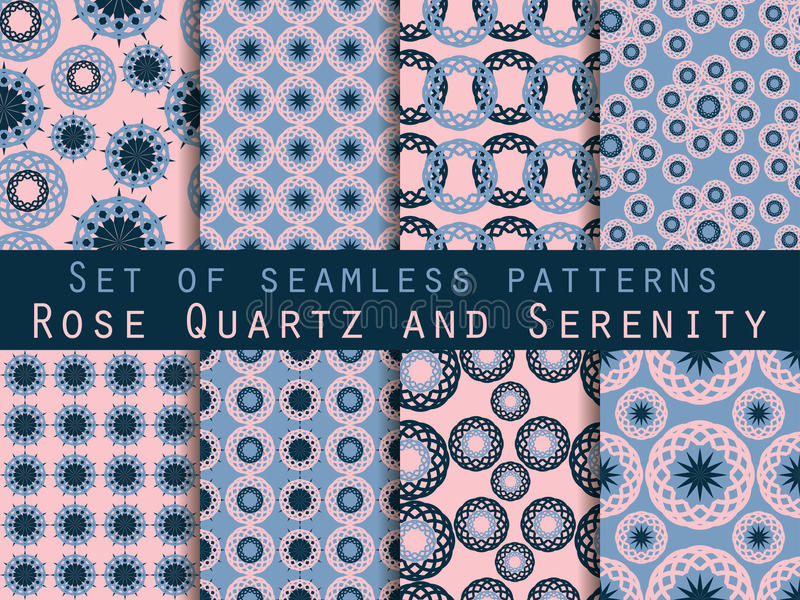 Seamless pattern with circles and weaves. Rose quartz and serenity. Seamless pattern with circles and weaves. Rose quartz and serenity violet colors. Set of royalty free illustration