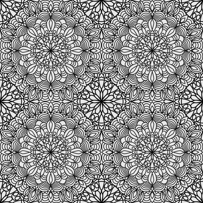 Seamless pattern from Circular ornament in form of mandala for Henna, Mehndi, tattoo, decoration. Decorative background in ethnic royalty free illustration