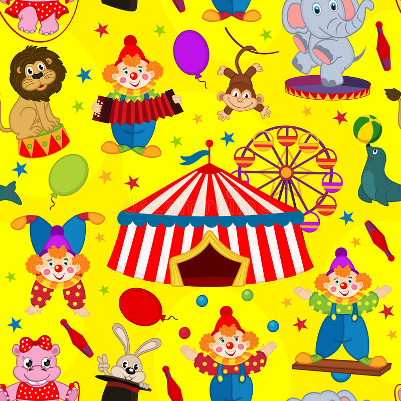 Seamless pattern circus with clown and animals vector illustration