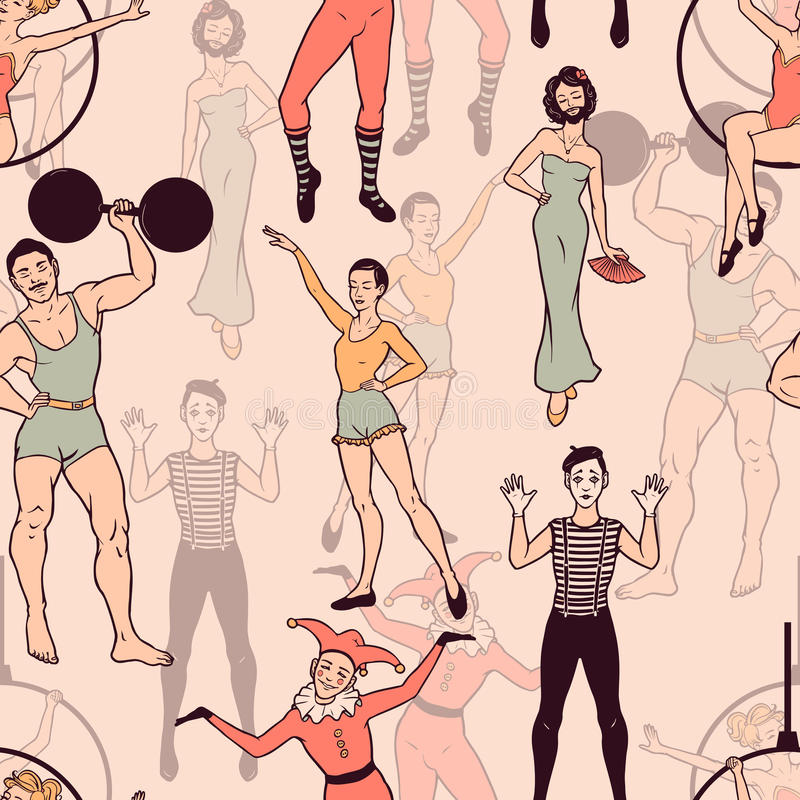 Seamless pattern with circus performers vector illustration